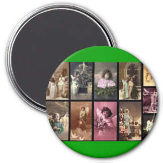 Holiday Angels I Green Magnet - Customizable Refrigerator Magnet