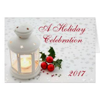 Holiday Christmas Lantern Party Invitation Company Mitteilungskarte