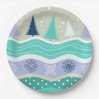 Holiday Fir Trees Snowflakes Snow Christmas Pappteller