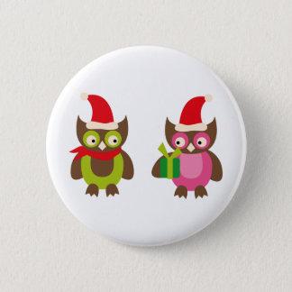 HolidayOwls13 Runder Button 5,7 Cm