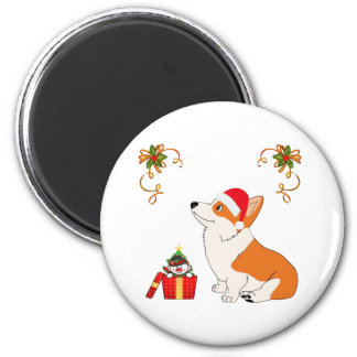 HolidayWelsh Corgi-Cartoon Runder Magnet 5,7 Cm