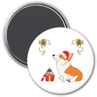 HolidayWelsh Corgi-Cartoon Runder Magnet 7,6 Cm