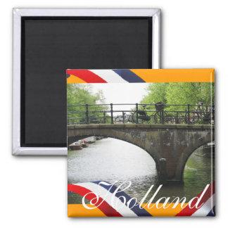 Holland-Kanal-Brücken-Orangen-Kühlschrankmagnet Quadratischer Magnet