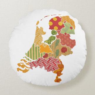 Holland-Provinz-Karten-böhmische Patchwork-Art Rundes Kissen
