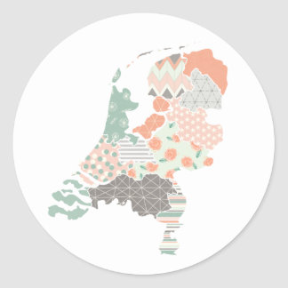Holland Province Map Geometric Patchwork Style