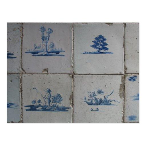 Holländer-Delft-Blau deckt Postkarte mit Ziegeln
