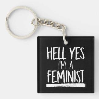 Hölle ja bin ich ein Feminist --  weiß - Schlüsselanhänger