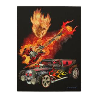Höllenfeuer-frisiertes Auto Holzdruck