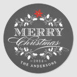Holly Wreath Christmas Chalkboad Typography Label Round Stickers