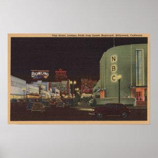 Hollywood, CA - Rebe-Straße vom Sonnenuntergang Poster