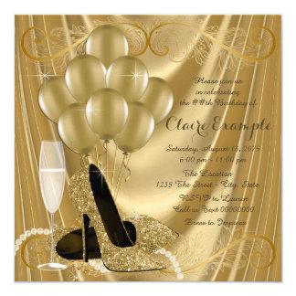 Hollywood-Glamour-Goldgeburtstags-Party Quadratische 13,3 Cm Einladungskarte