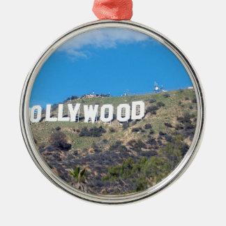 Hollywood Hills Rundes Silberfarbenes Ornament