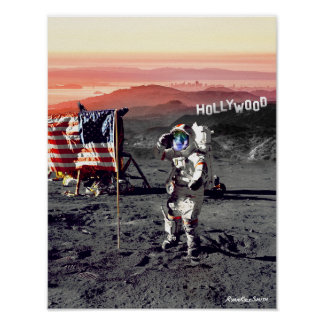 Hollywood-Mond-Mann-Plakat Poster