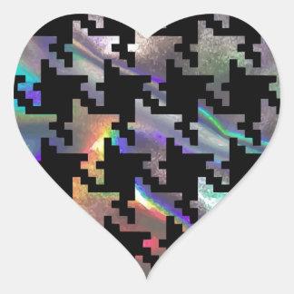 Hologramm-Hahnentrittmuster Herz-Aufkleber