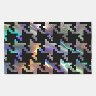 Hologramm-Hahnentrittmuster Rechteckiger Aufkleber