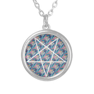 Hologramm Pentagram Versilberte Kette