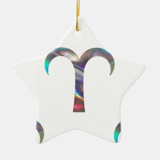 Hologramm Widder Keramik Stern-Ornament
