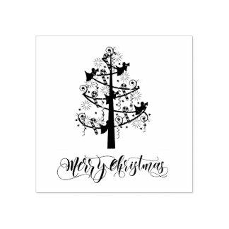 Holz-Briefmarke des Engels-Weihnachtsbaum-ID197 Gummistempel