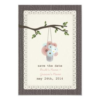 Holz inspirierte Dose Gänseblümchen Save the Date 8,9 X 12,7 Cm Einladungskarte