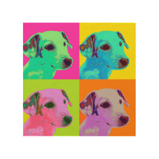 Holz-Leinwand. Hund, Jack Russels Terrier. Popart Holzwanddeko