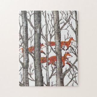 Holz-Puzzle roten Fox graues Waldschwierig Puzzle