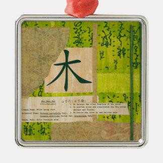 Holz Quadratisches Silberfarbenes Ornament