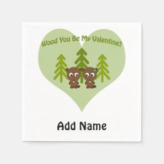 Holz sind Sie mein Valentinsgruß Serviette