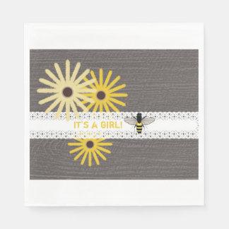 Holz + Spitze-Bienen-Mädchen-Babyparty-Servietten Papierservietten