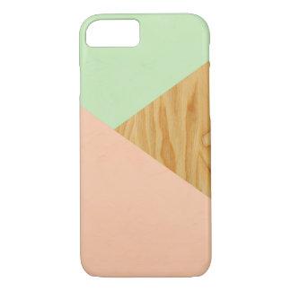 Holz und abstraktes Pastellmuster iPhone 8/7 Hülle