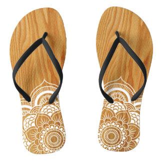 Holz und Mandala Flip Flops