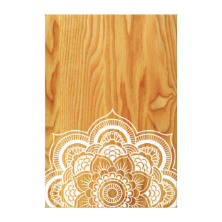 Holz und Mandala Leinwanddruck