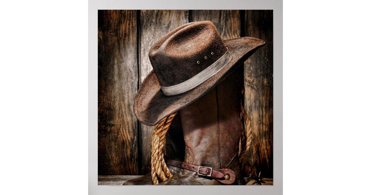 hölzerne Cowboystiefel der Westernlandbraunscheune Poster ...