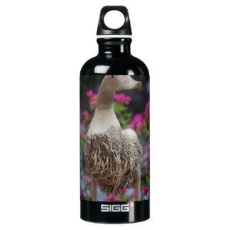 Hölzerne Ente mit Blumen Aluminiumwasserflasche
