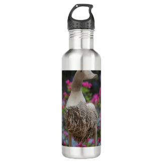 Hölzerne Ente mit Blumen Edelstahlflasche