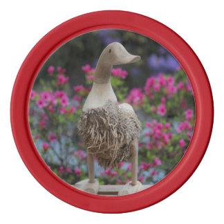 Hölzerne Ente mit Blumen Poker Chip Set
