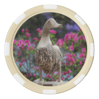 Hölzerne Ente mit Blumen Poker Chips