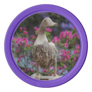 Hölzerne Ente mit Blumen Poker Chips Set