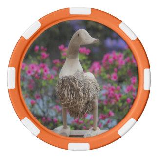 Hölzerne Ente mit Blumen Pokerchips