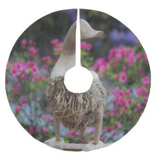 Hölzerne Ente mit Blumen Polyester Weihnachtsbaumdecke