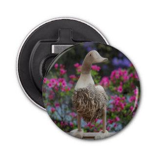 Hölzerne Ente mit Blumen Runder Flaschenöffner