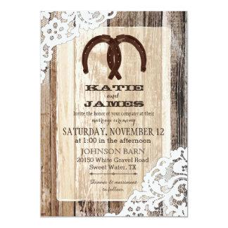 Hölzerne Hufeisenspitze-rustikale Hochzeit Karte