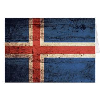 Hölzerne Island-Flagge Grußkarte
