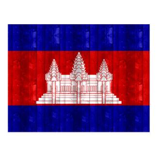 Hölzerne kambodschanische Flagge Postkarte