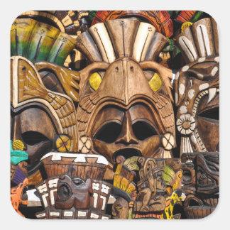 Hölzerne Mayamasken in Mexiko Quadratischer Aufkleber