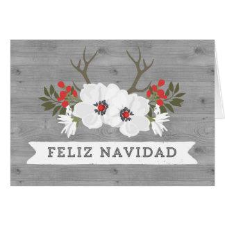 Hölzerne mit Blumengeweih-spanische Grußkarte