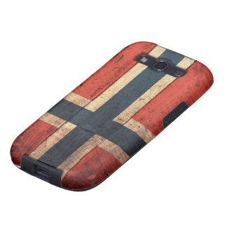 Hölzerne Norwegen-Flagge Samsung Galaxy S3 Hüllen
