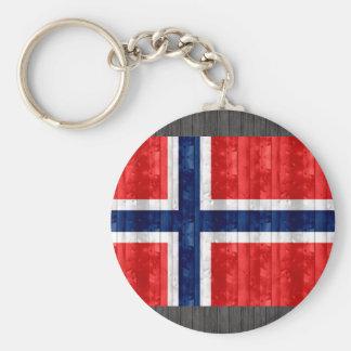 Hölzerne norwegische Flagge Standard Runder Schlüsselanhänger