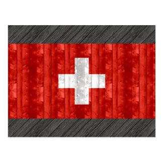 Hölzerne Schweizer Flagge Postkarte