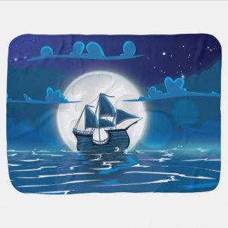 Hölzerne Segelschiffsreise im Mondschein Puckdecke
