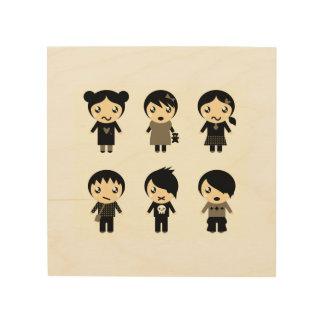 Hölzerne Tabelle mit Emo Charakteren Holzdruck